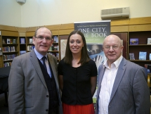 Author Lucy Caldwell with Damian Smyth - Head of Literature and Drama, Arts Council and writer Peter Sheridan at the opening event