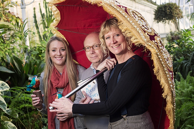 Author David Park pictured alongside textile sculptor Lauren Scott and Sonya Whitefield, Arts Council of Northern Ireland is currently attending the Jaipur Literature Festival in India, supported by the Arts Council of Northern Ireland and British Council