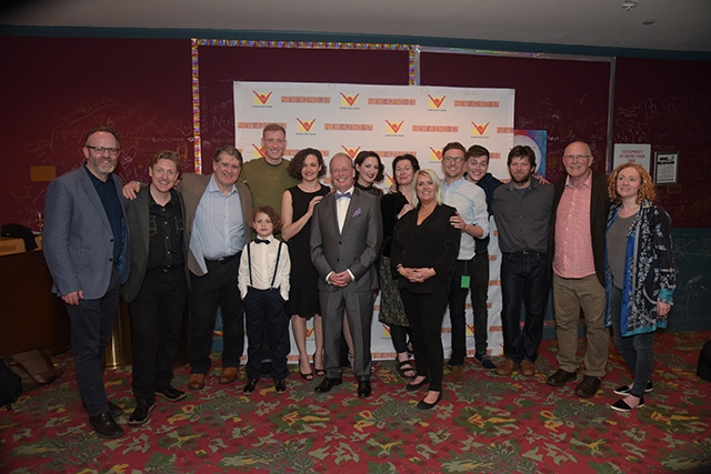 The cast & crew of Nivelli's War pictured with Gilly Campbell, Arts Council of Northern Ireland at the New Victory Theatre on New York's 42nd Street in the heart of Times Square. Photo credit James Higgins