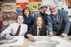 Pictured with PJ Lynch are  year 10 pupils Niamh Loughran and Emily Caughey,  Liz Canning Booktrust NI and Damian Smyth, Arts Council for Northern Ireland.