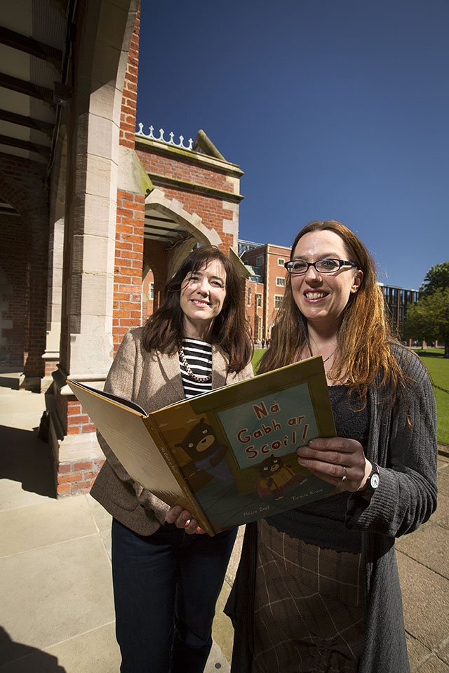 New Children's Writing Fellow, Myra Zepf (right) pictured with Seamus Heaney's daughter, Catherine Heaney