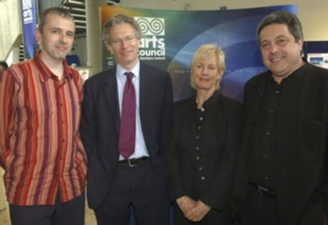 (L to R) Niall McCaughan, General Manager of the Derry Playhouse; Fintan O'Toole, drama critic and political journalist; Rosemary Kelly, Chairman of the Arts Council of Northern Ireland; Paul Collard, Director of Creative Partnerships