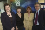(L to R) Susan Glass, Mid-Ulster Community Arts Trust; Jean Brennan, Arts Officer for Omagh District Council; Deborah Girvan, Communications Manager at the Arts Council of Northern Ireland; Fintan O'Toole, drama critic and political journalist
